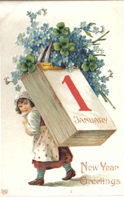 Girl-Calendar-New-Year-Vintage-Postcard